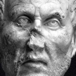 Plotinos. Ostiense Museum, Ostia Antica, Rome. Creator: Unknown. Source: https://tinyurl.com/4vv67puz Licence: Public domain.