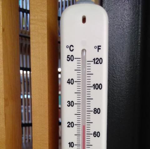Thermometer in Divinity Faculty Library, showing nearly 20C / 69F!