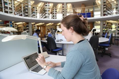 Student in Divinity Library (June 2017) ; photographed by Chris (Kip) Loades.