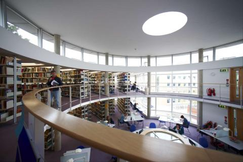 Divinity Library during term time. Photographer unknown.