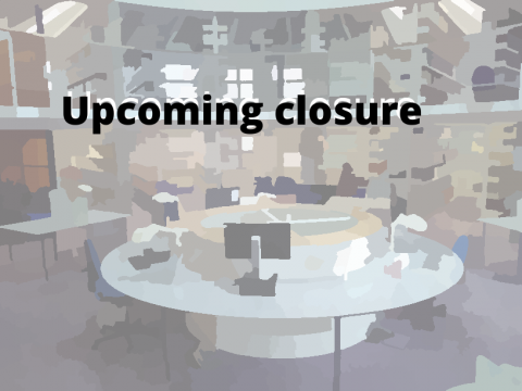 Upcoming closure of Divinity Faculty Library, with image of library in a watercoloured effect.