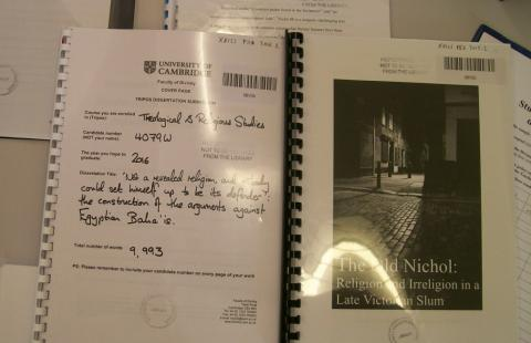Two dissertations, from a selection of submitted work at Divinity
