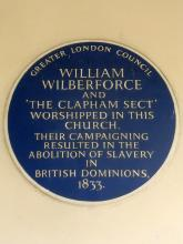 Plaque at Holy Trinity Church, Clapham Common, Clapham, London