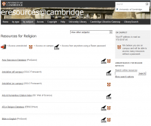Eresources for religious studies and theology, University of Cambridge