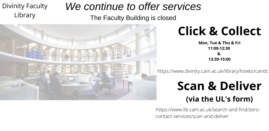 Divinity Faculty building closed - librarirans continuing to support you