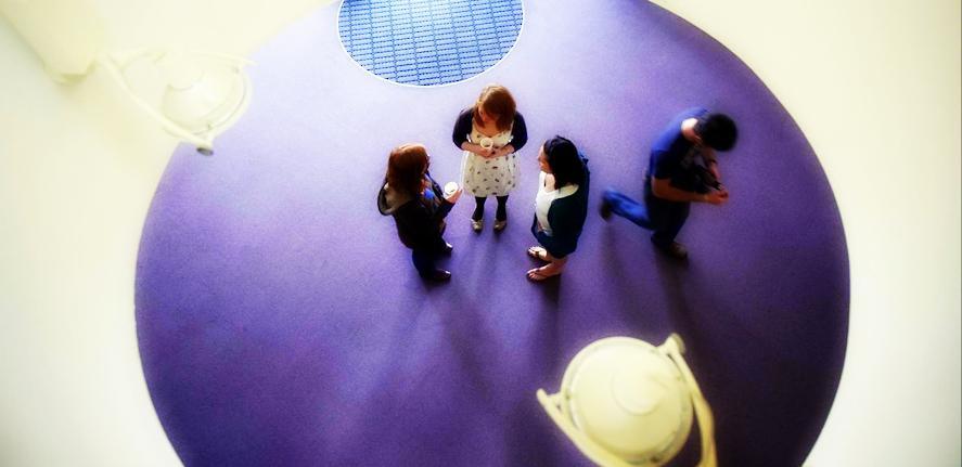 Building interior, students