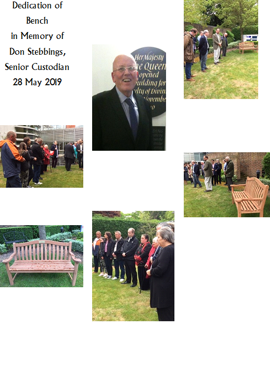 Dedication of bench in memory of Don Stebbings, Senior Custodian